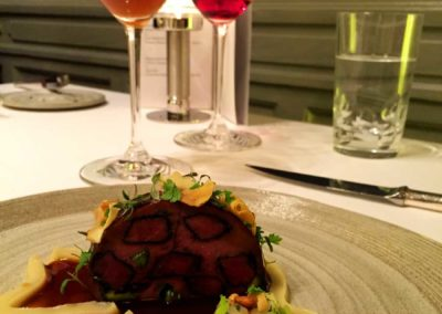 "Venison ""montage"", duck ravioli, celery, chervil"